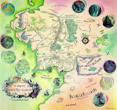 Carte de la Terre du Milieu (Pauline Baynes, 1970)